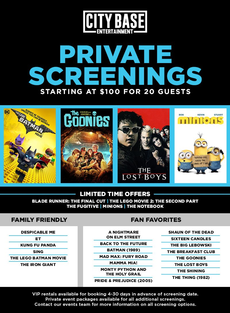 Private screening options for June
